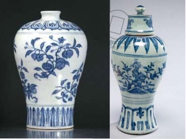 Drawn vase ming vase Ming Chinese 6 vases dynasty