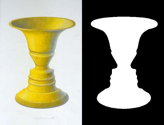 Drawn vase optical illusion Wikipedia  Rubin vase