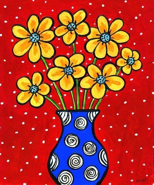 Drawn vase painting And flowers Find on about