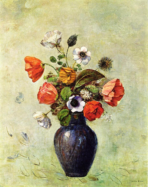 Drawn vase painting Flower in Odilon Beautiful realistic