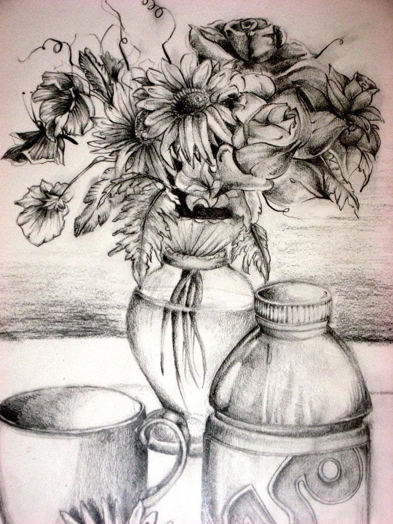 Drawn vase pencil drawing JPG Flower Drawing Drawings Vase