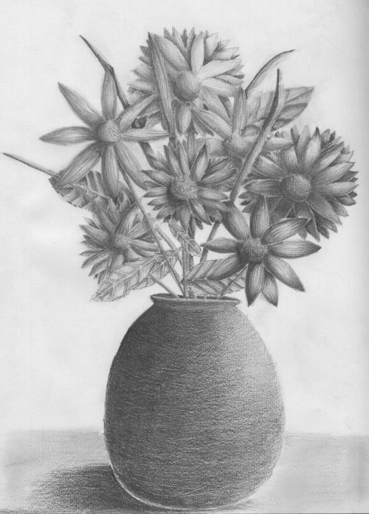 Drawn vase pencil drawing Drawing Drawing Vase With Pencil