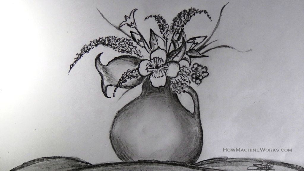 Drawn vase pencil drawing Pencil Pencil com TechTrixInfo to