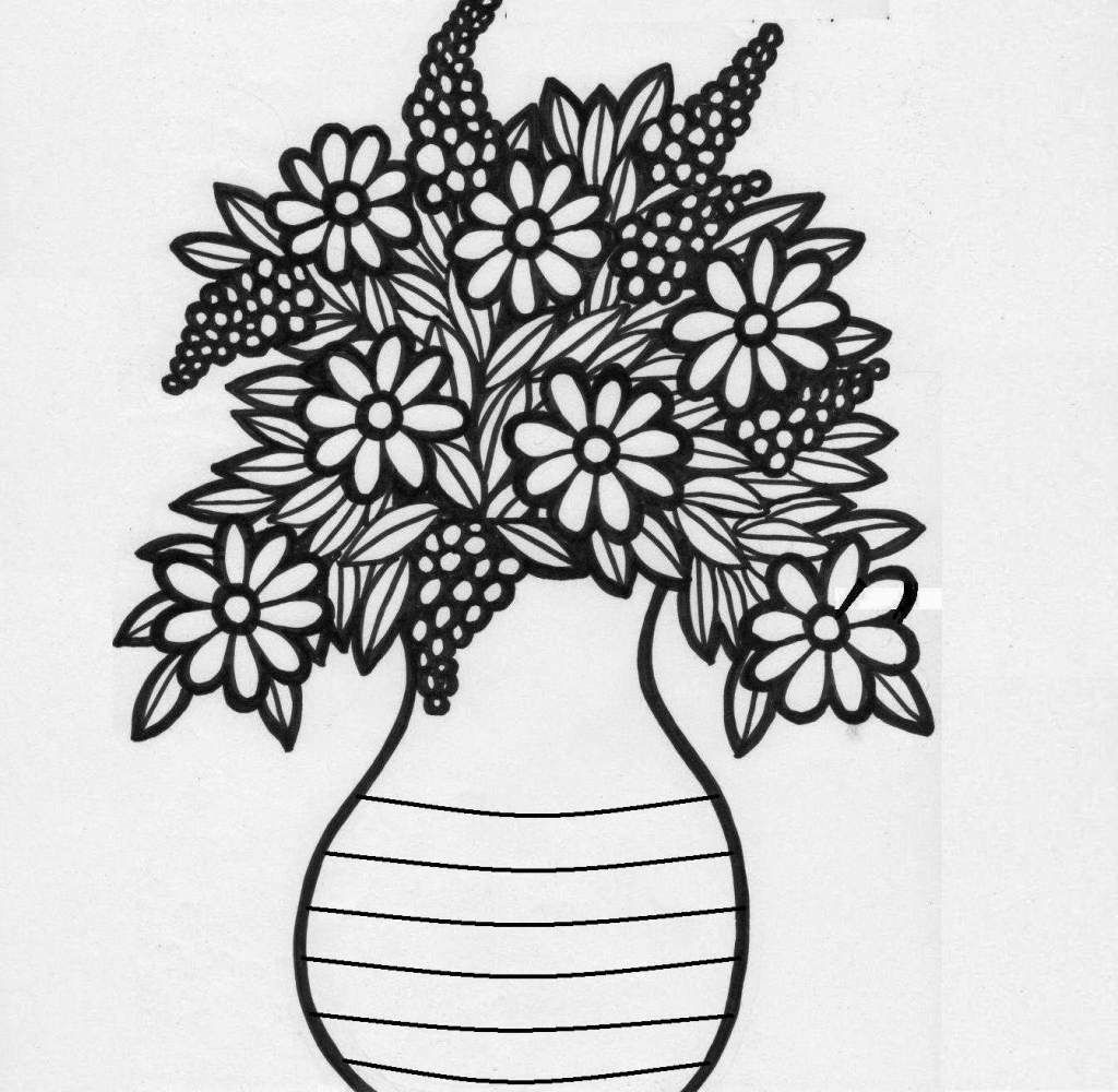 Drawn vase real flower Colour Drawing Vase photos Drawing