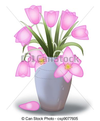 Drawn vase real flower Of tulips vase tulips A