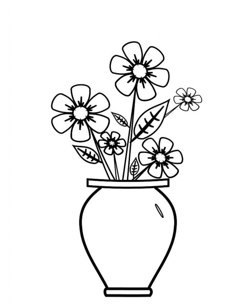 Drawn vase real flower Colour Drawing Vase How And