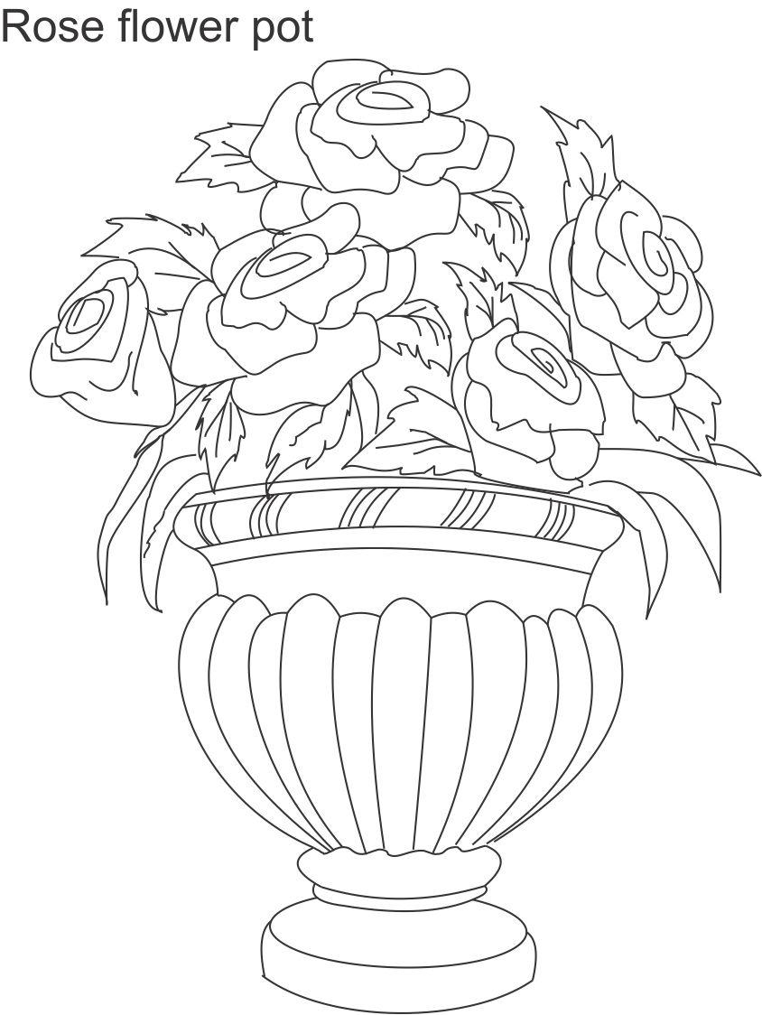 Drawn vase real flower Viewing Coloring essay Pages in