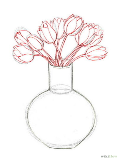 Drawn vase real flower And of Vase Drawings drawing