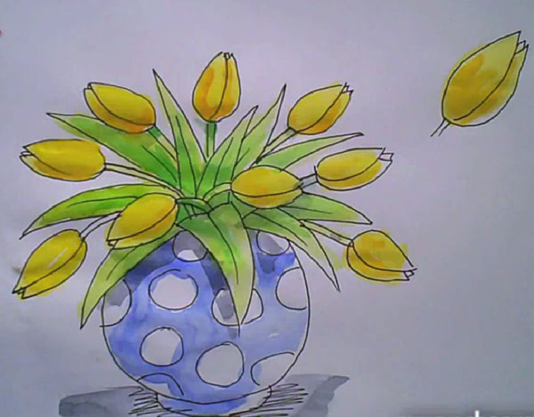 Drawn vase realistic On Tutorials of A tulips