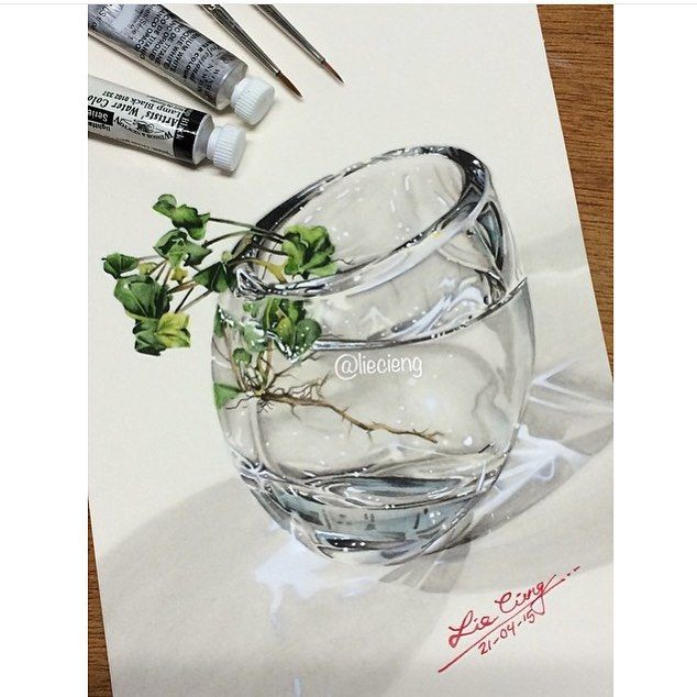 Drawn vase realistic 3D images realism glass 17