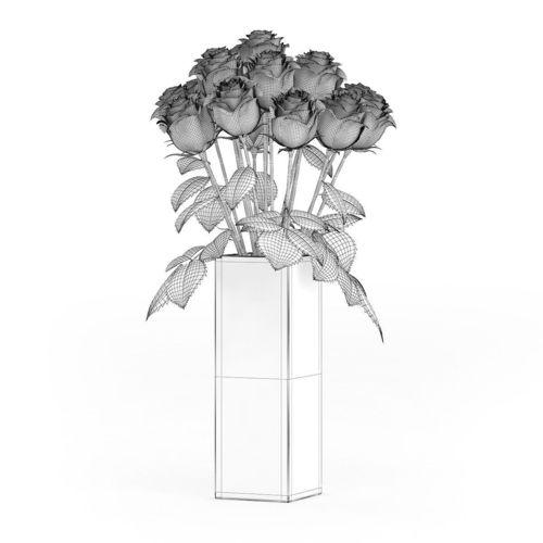Drawn red rose glass vase Vase MTL in 4 max