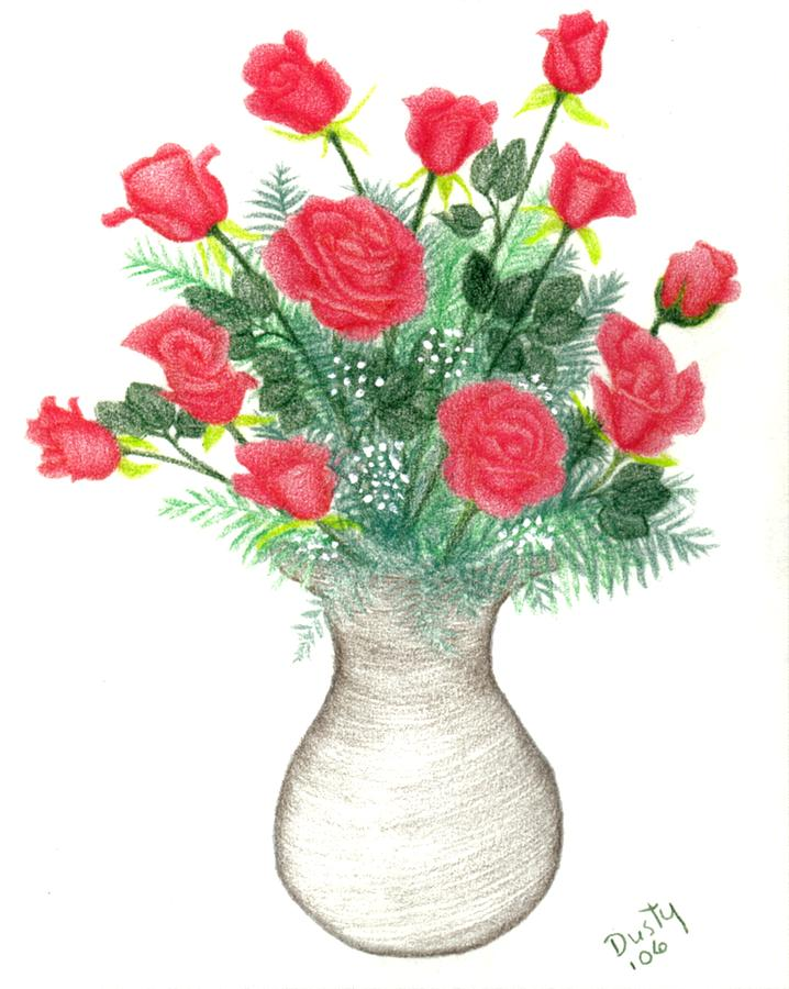 Drawn vase red rose Roses by Bouquet by Of
