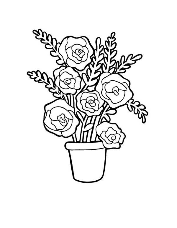 Drawn vase red rose Vase for Coloring Red Roses