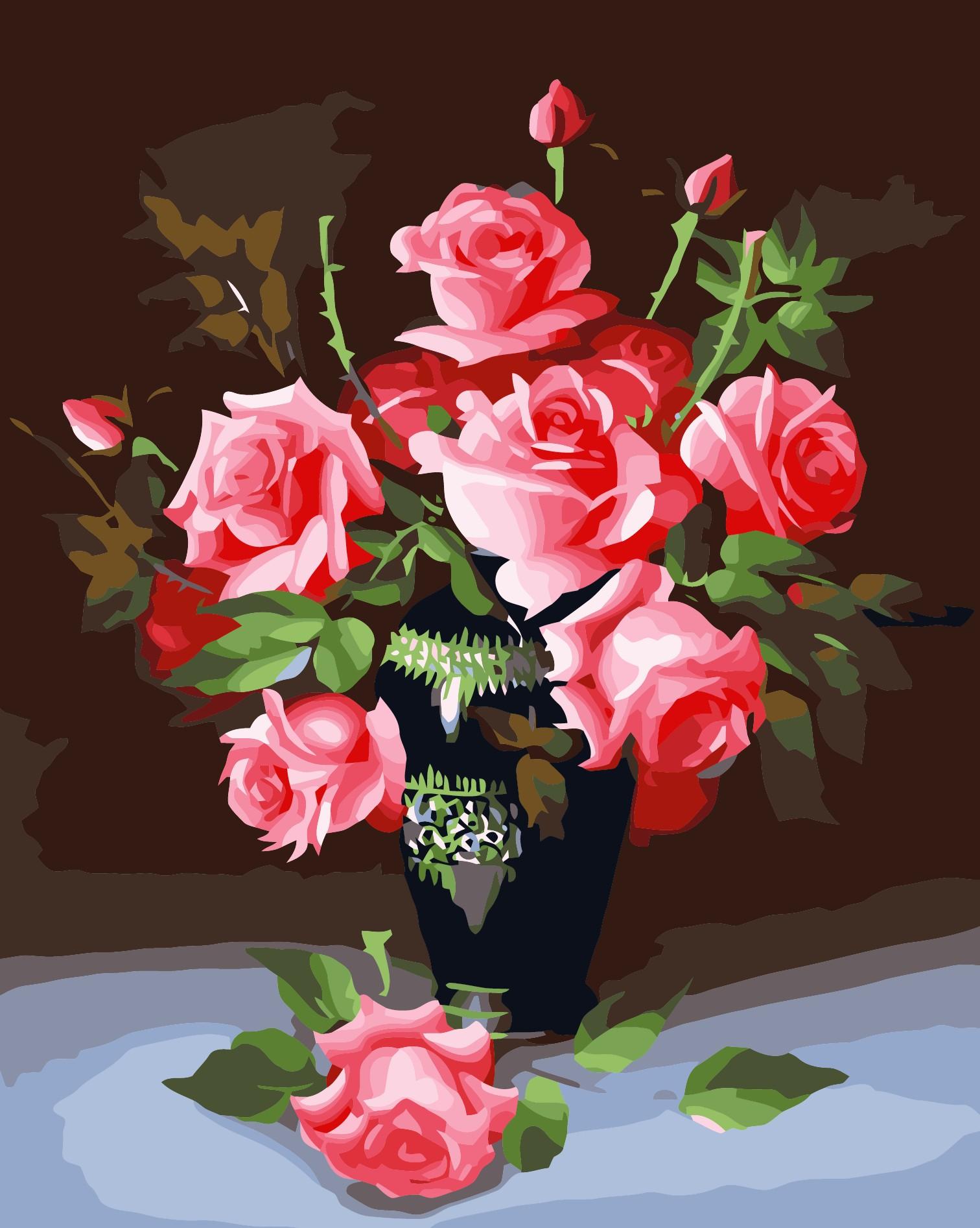 Drawn vase red rose Alibaba Acrylic Canvas Decoration Oil