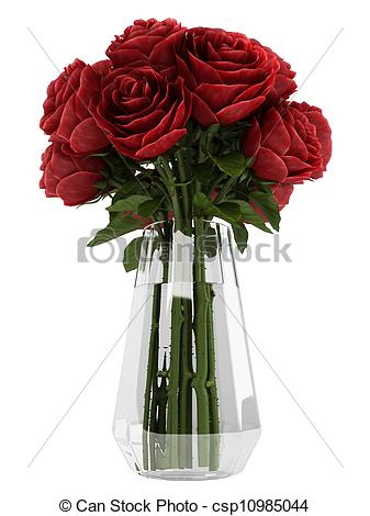 Drawn vase red rose Clip Art in – a