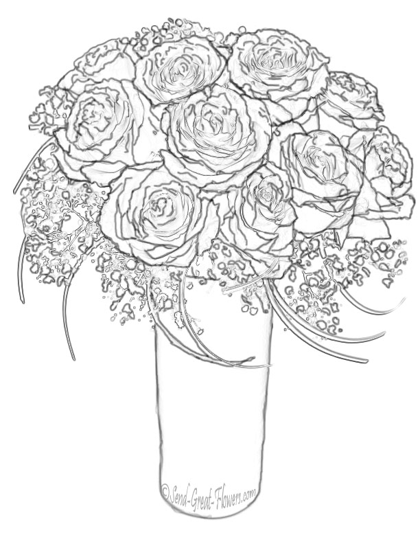 Drawn vase rose Free Pages Printable Coloring Pages