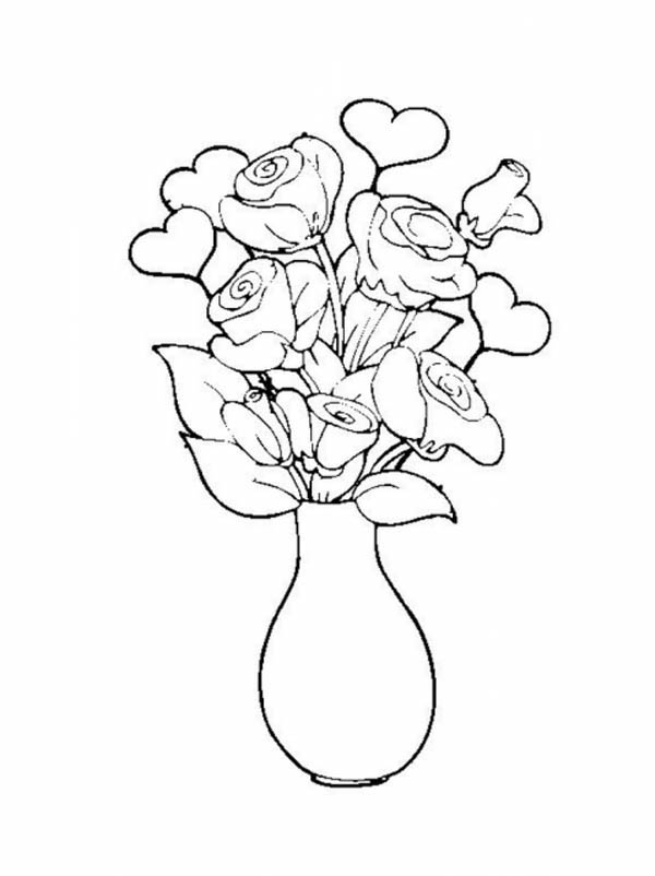 Drawn vase rose Rose Vase Bouquet Luna Page