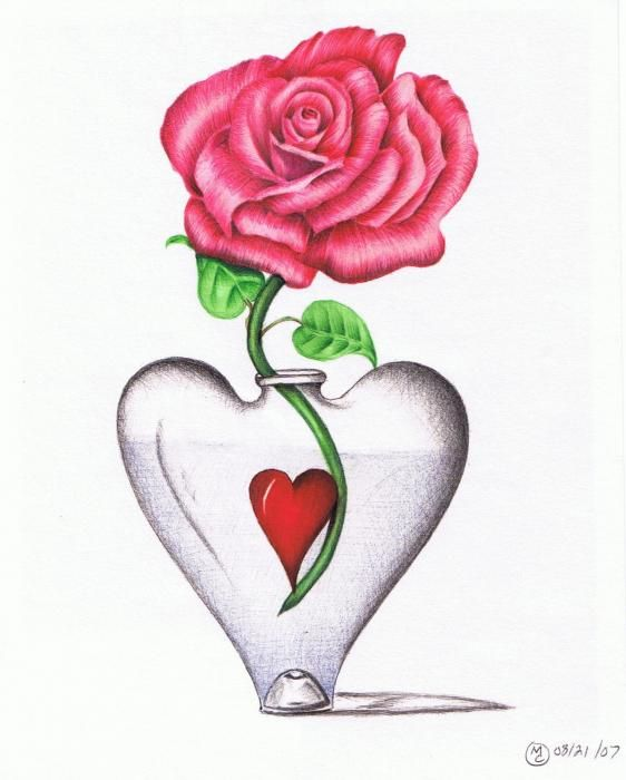 Drawn red rose vase drawing Heart In The vases Pinterest