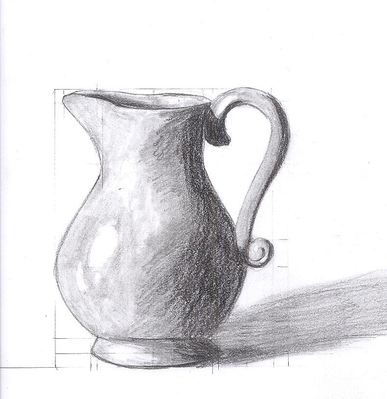 Drawn vase shadow Para still easy in drawings