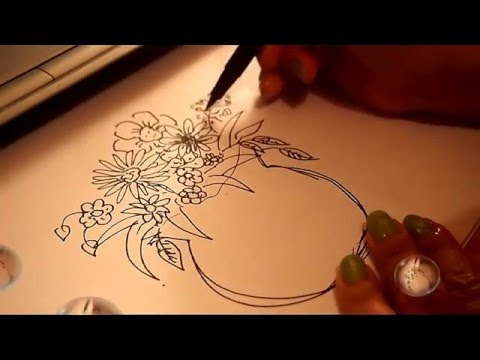 Drawn red rose vase drawing Drawing and Coloring YouTube Vase