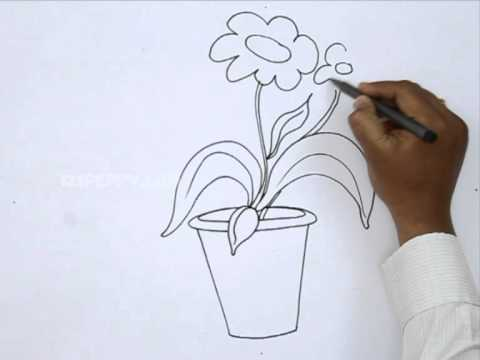 Drawn weed simple Draw a Flower YouTube Pot