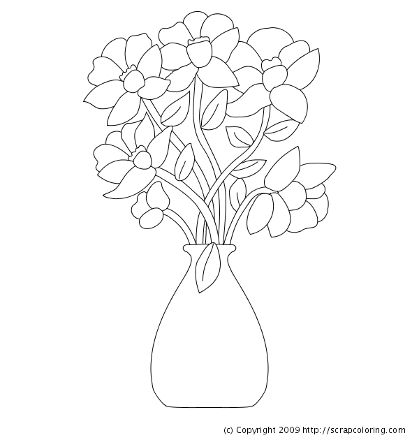 Drawn vase wash In in page coloring Flowers