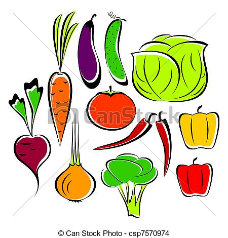 Drawn vegetable line art Of  Different csp7570974 Different