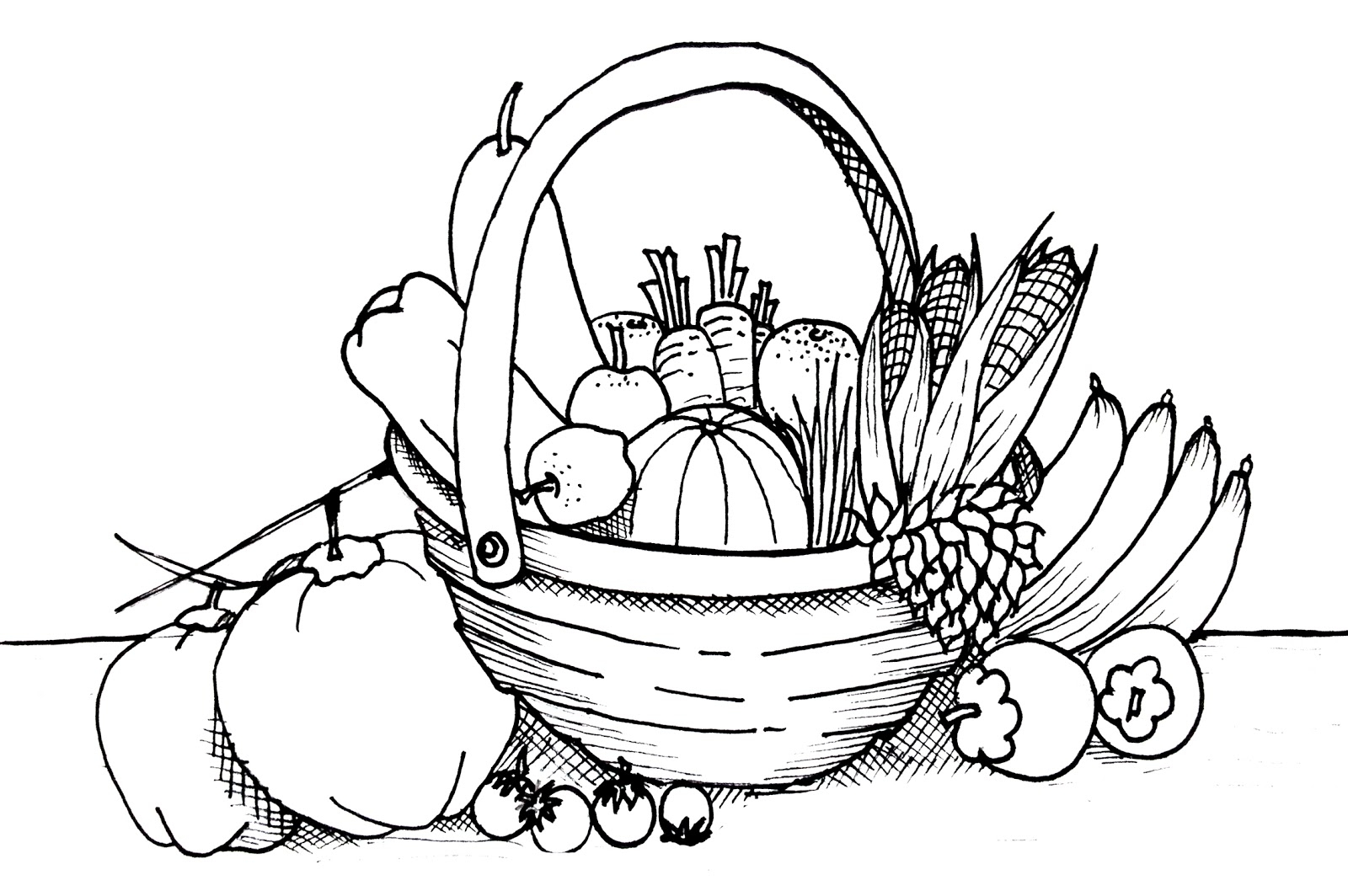 Vegetables clipart basket drawing Draw Solution Step Of How