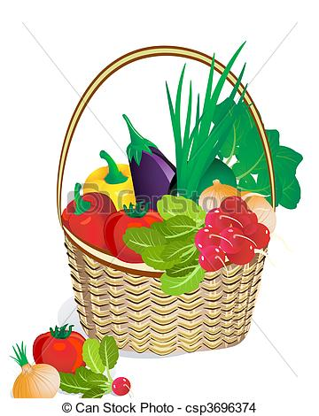 Vegetables clipart basket drawing Tips easy vegetables easy step
