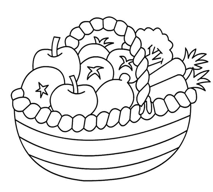 Vegetables clipart basket drawing Vegetables Masteri And Fruits Coloring