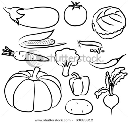 Drawn vegetable black and white Silhouette Art Drawings Clip Icons