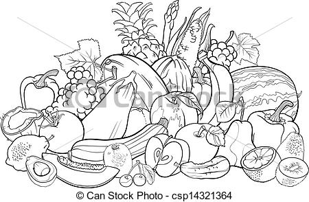 Drawn vegetable black and white Clipart and for White