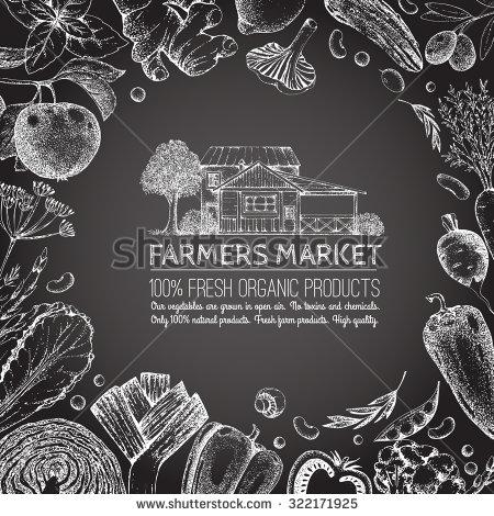 Drawn vegetable chalk Vintage Food  and veggies
