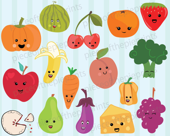 Drawn vegetable cute Drawn/personal/commercial  Etsy DOWNLOAD/clipart/fruit/vegetable/cute/hand INSTANT