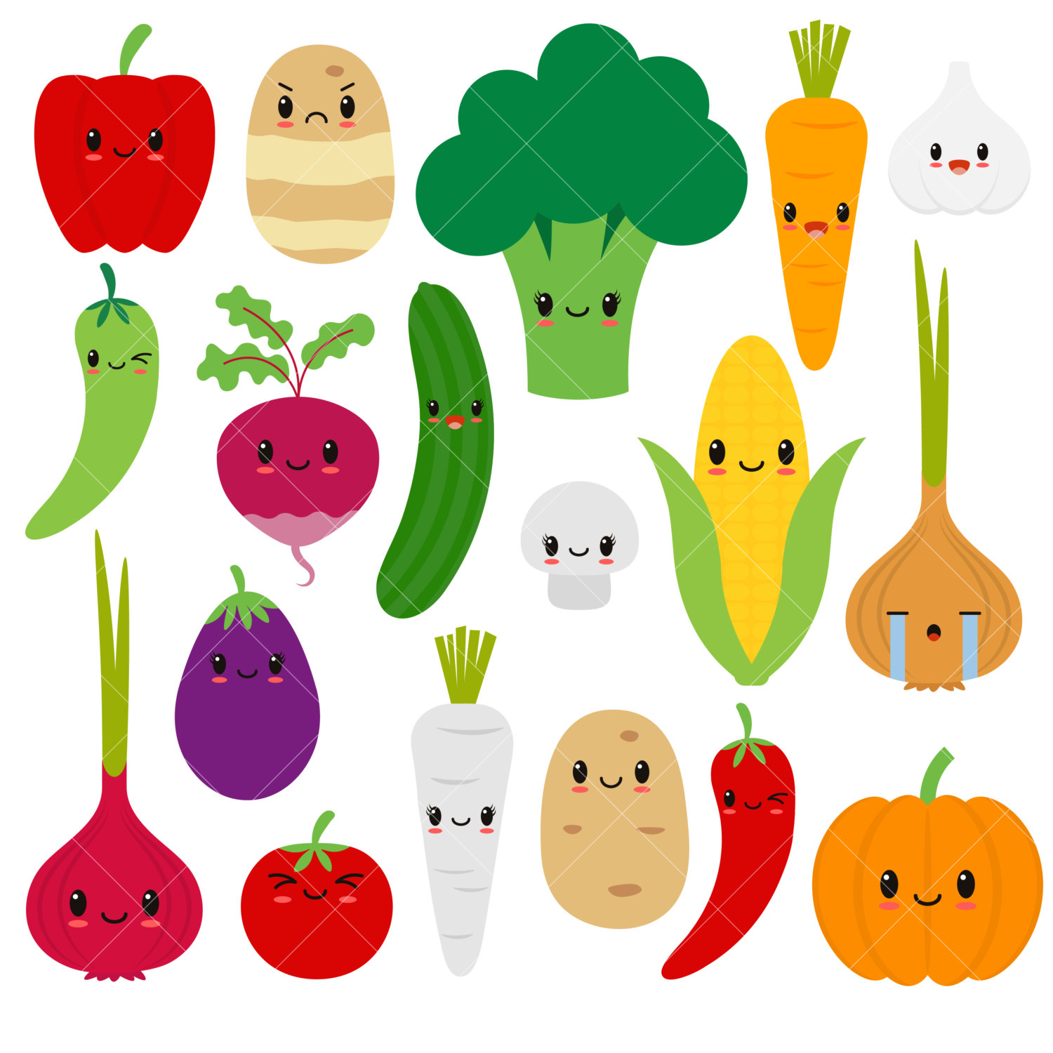 Drawn vegetable cute / clipart / Vegetables Etsy
