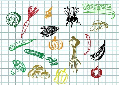 Drawn vegetable easy 'very vegetable easy of Stock