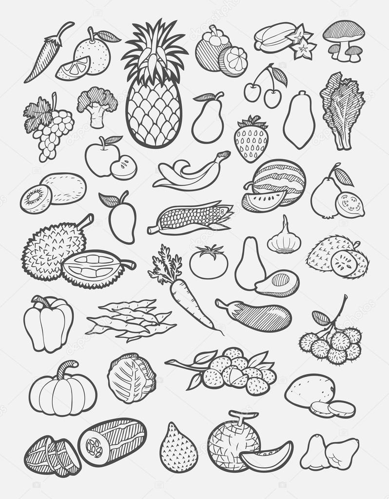 Drawn vegetable easy Hand of fruits — and