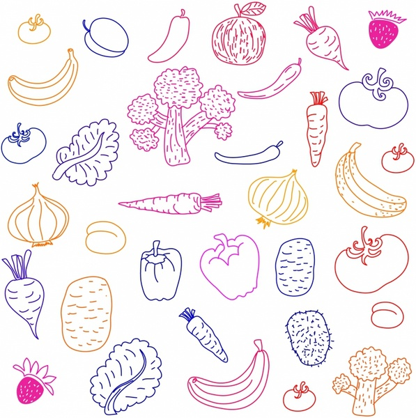 Drawn vegetables fruit and vegetable Drawing free and Fruit Free