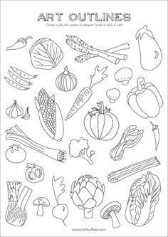 Drawn vegetable line art And Full Outline Vegetable Illustrations