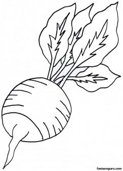 Drawn vegetable radish Printable Coloring For Coloring