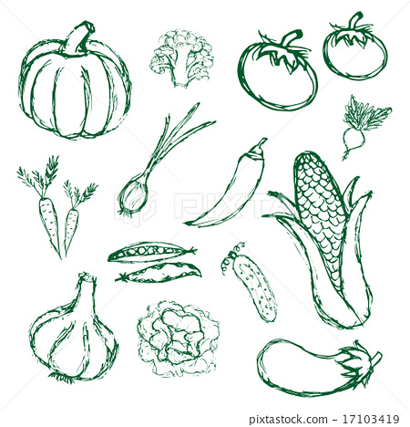 Drawn vegetable simple Doodle  hand eps10 icons