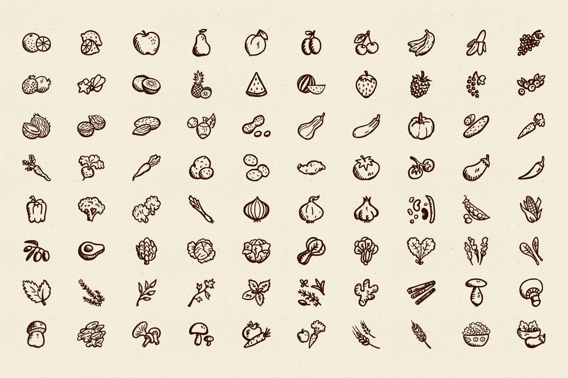 Drawn vegetables simple Preview 80 Fruits Goods Hand
