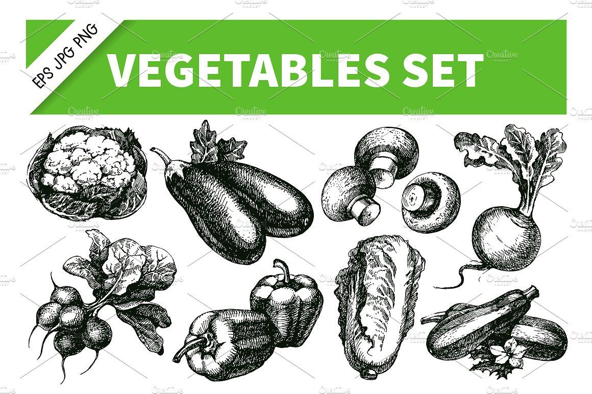 Drawn vegetable sketched On Sketch drawn set Creative
