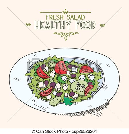 Drawn vegetables vegetable salad Food food with healthy Greek