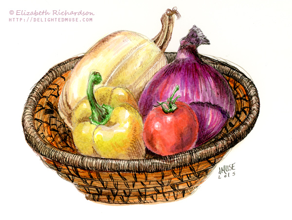 Drawn vegetables basket drawing In Drawing: a ink