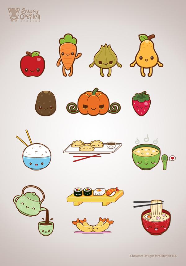 Drawn vegetables cute Illustration  Set Liza via