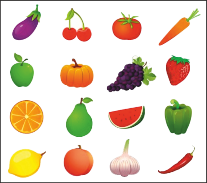 Drawn vegetables fruit and vegetable To vegetable eat the Remember