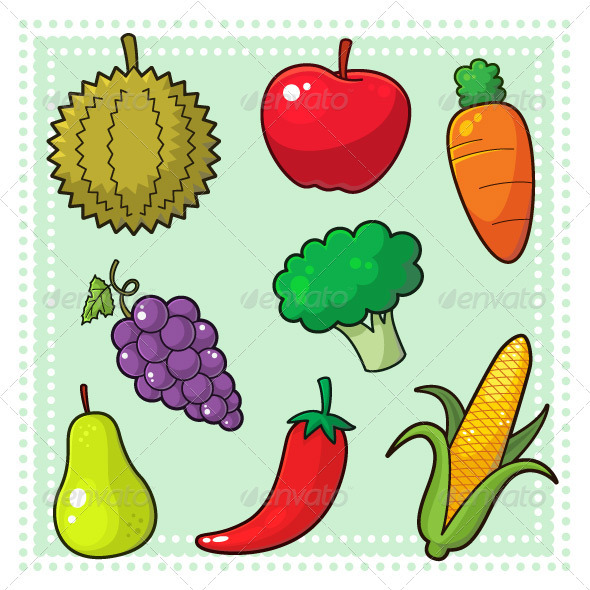 Drawn vegetables fruit and vegetable Vegetables 01 & Fruits logo