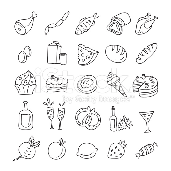 Drawn amd meat Drawn food Hand outline: vegetables