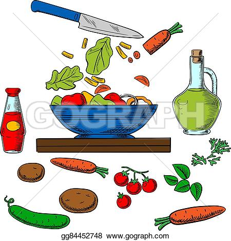 Drawn vegetables vegetable salad Art spicy surrounded potatoes fresh